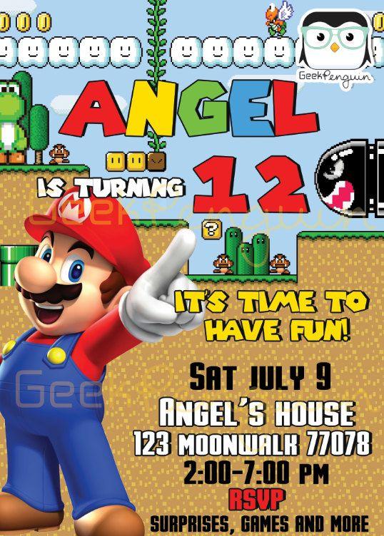 Invitation Mario Bros Mario Bros Party Luigi Invitation