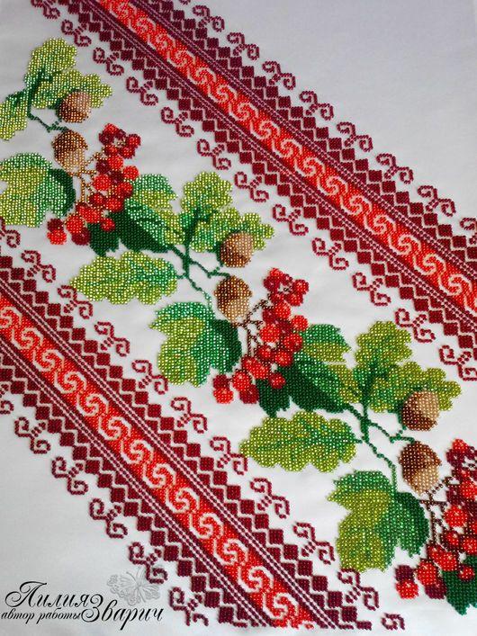 Свадебный рушник `Диагональ` Под ноги- вышивка бисером - 2 52cafa4a90060
