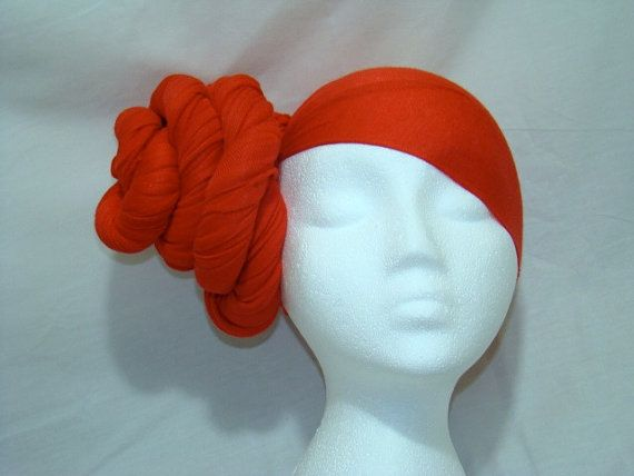 Large Red Jersey Knit Stretch Headpiece Headwrap   #protectivestyle #red #headwrap #jersey #knit