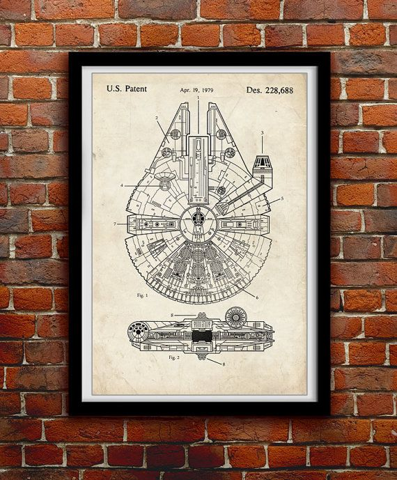 Star Wars Millenium Falcon Geek Decor Patent By Thepatentoffice