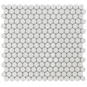 Merola Tile Hudson Penny Round Glossy White 12 In X 5 8 Mm Porcelain Mosaic 10 2 Sq Ft Case