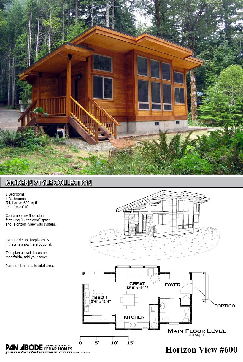 This great looking 600 sq ft home is a kit from pan for Tiny cabin plans