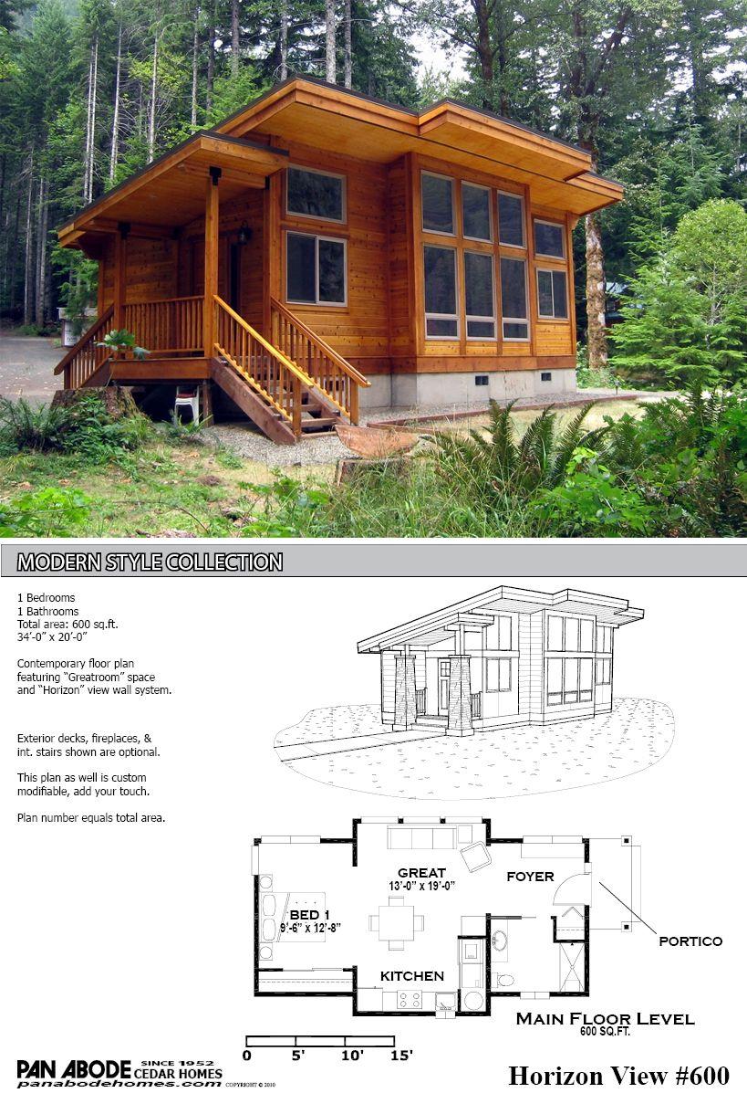 600 Sq FT Cedar Home Plan Modern