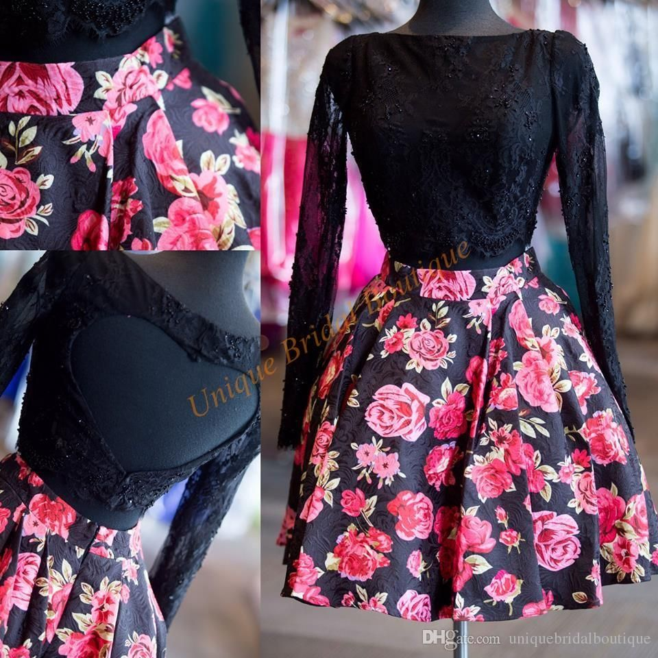 print floral pieces homecoming dresses real pictures with