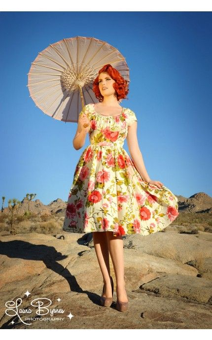 Retro Style Party Swing Dress with Gathered Bust and Bow in Peach and Green Floral | Pinup Girl Clothing