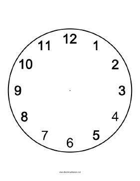 Clock face Blackline Master Teachers Printables, free to