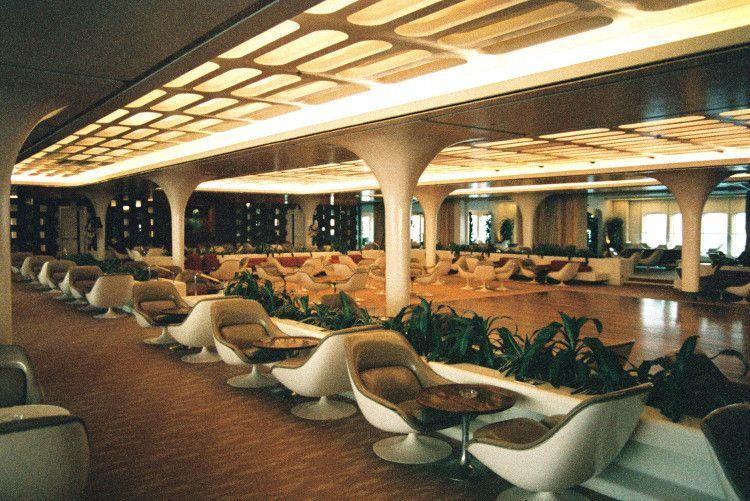 Queen Elizabeth 2 Ship Gallery 1969 Futuristic Interior Mid Century Modern Interiors Vintage Interiors
