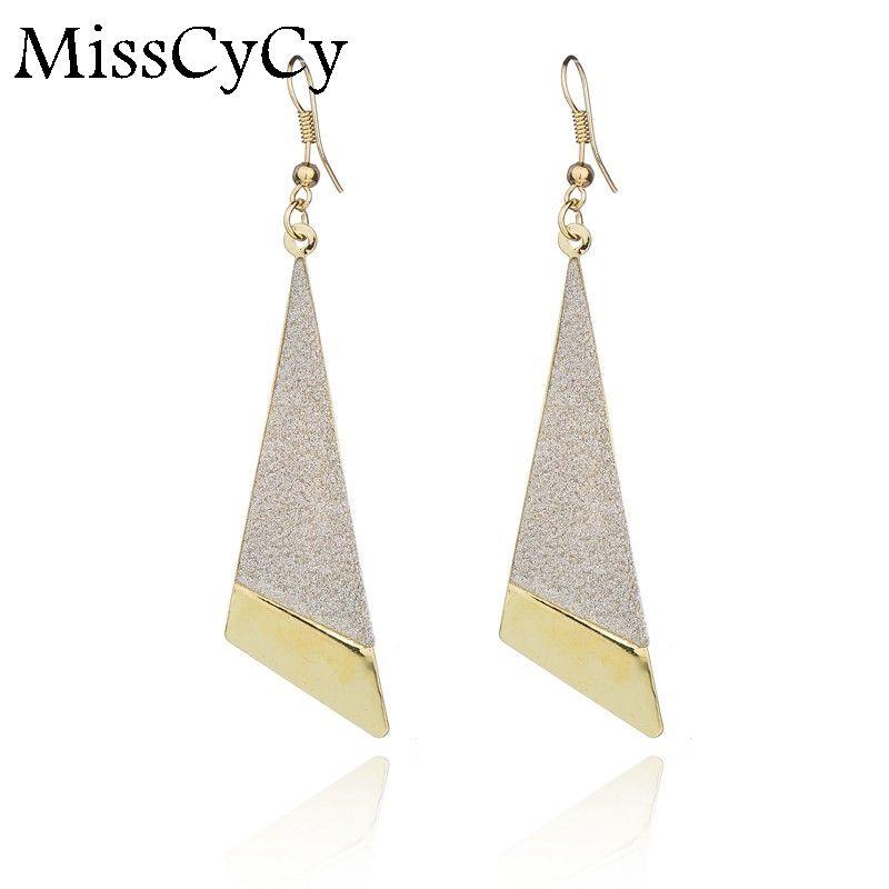 MissCyCy 고급 보석 보류 석 기하학적 귀걸이 2016 새로운 패션 드롭 귀걸이 선물