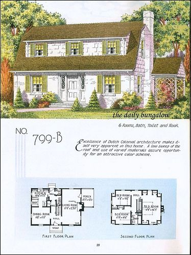 1935 National Plan Service Colonial House Plans Dutch Colonial Homes Colonial House Exteriors