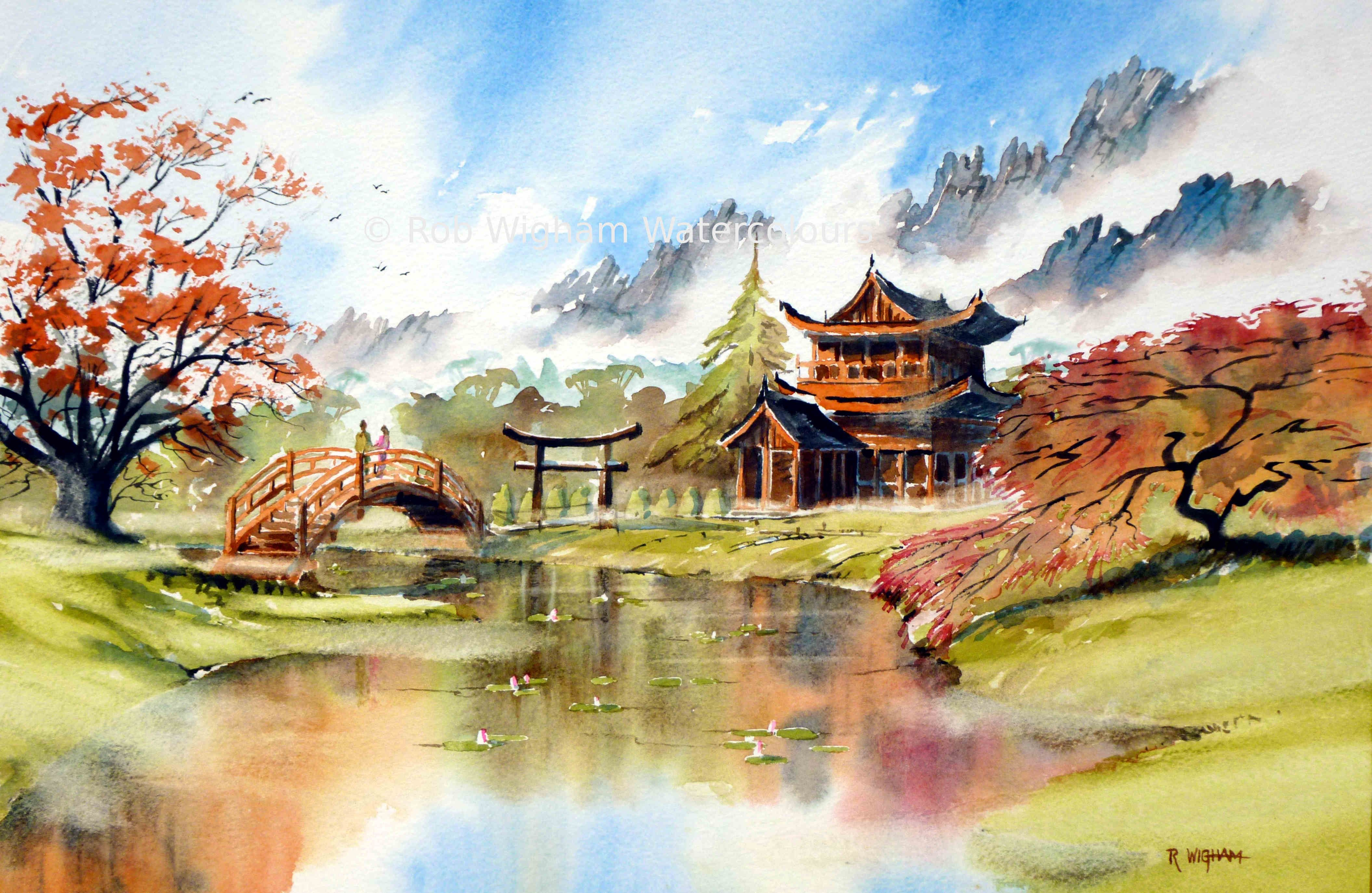 A Japanese Landscape With Mist On The Mountains And Soft