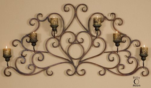 Tuscan XL Hand Forged Metal Candle Holder Wall Sconce Wrought Iron Grille