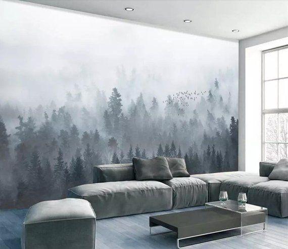 Photo of tåket fjell bakgrunnsbilde avtagbar tåkete skogveggmaleri for hjemmet soverom trevegg kunstoverføringsbilde