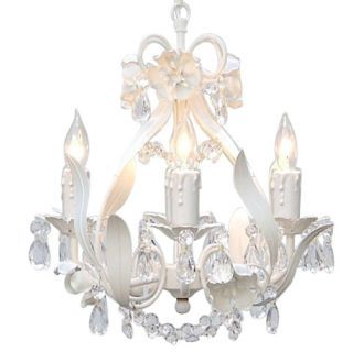 White 4 light 1 tier crystal mini chandelier with clear crystals white 4 light 1 tier crystal mini chandelier with clear crystals with floral metal accents aloadofball Gallery