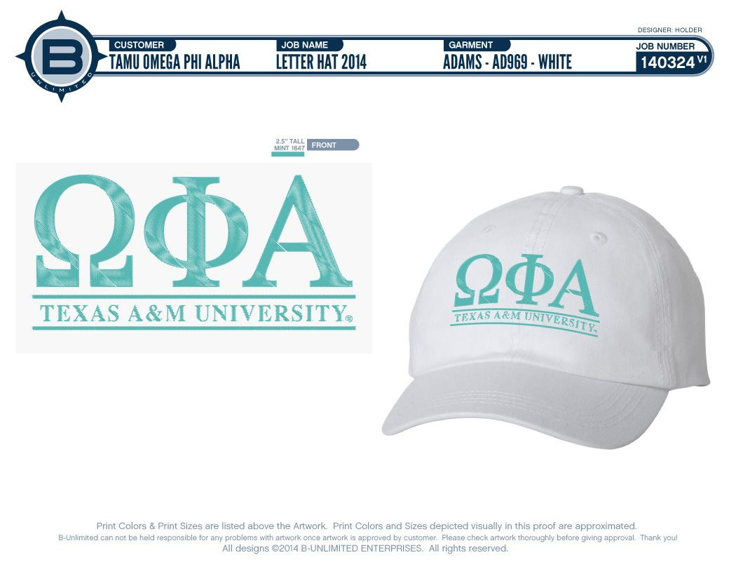 White and Mint Omega Phi Alpha sorority hat from b unlimited
