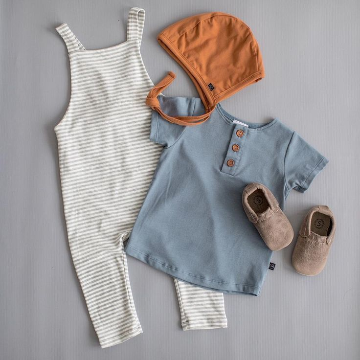 grey stripes overalls // orange bonnet // blue meadow henley tee // persimmon bo #bonnets