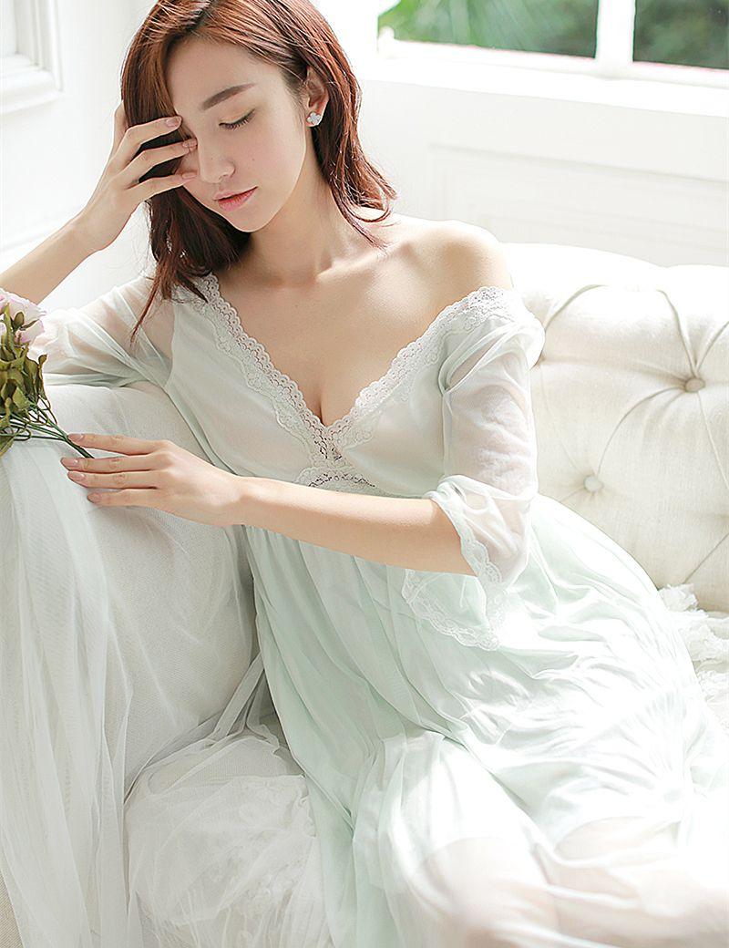 Summer sleep lounge lady sleepwear deep vneck long nightdress women