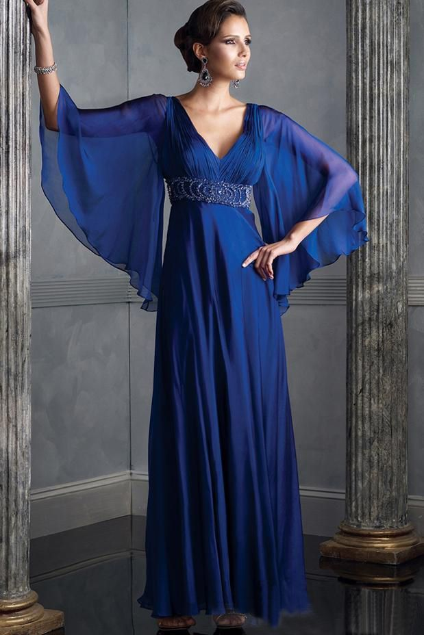 Autumn-Style-Gorgeous-V-neck-Long-Blue-Chiffon-Mother-Of-The-Bride ...