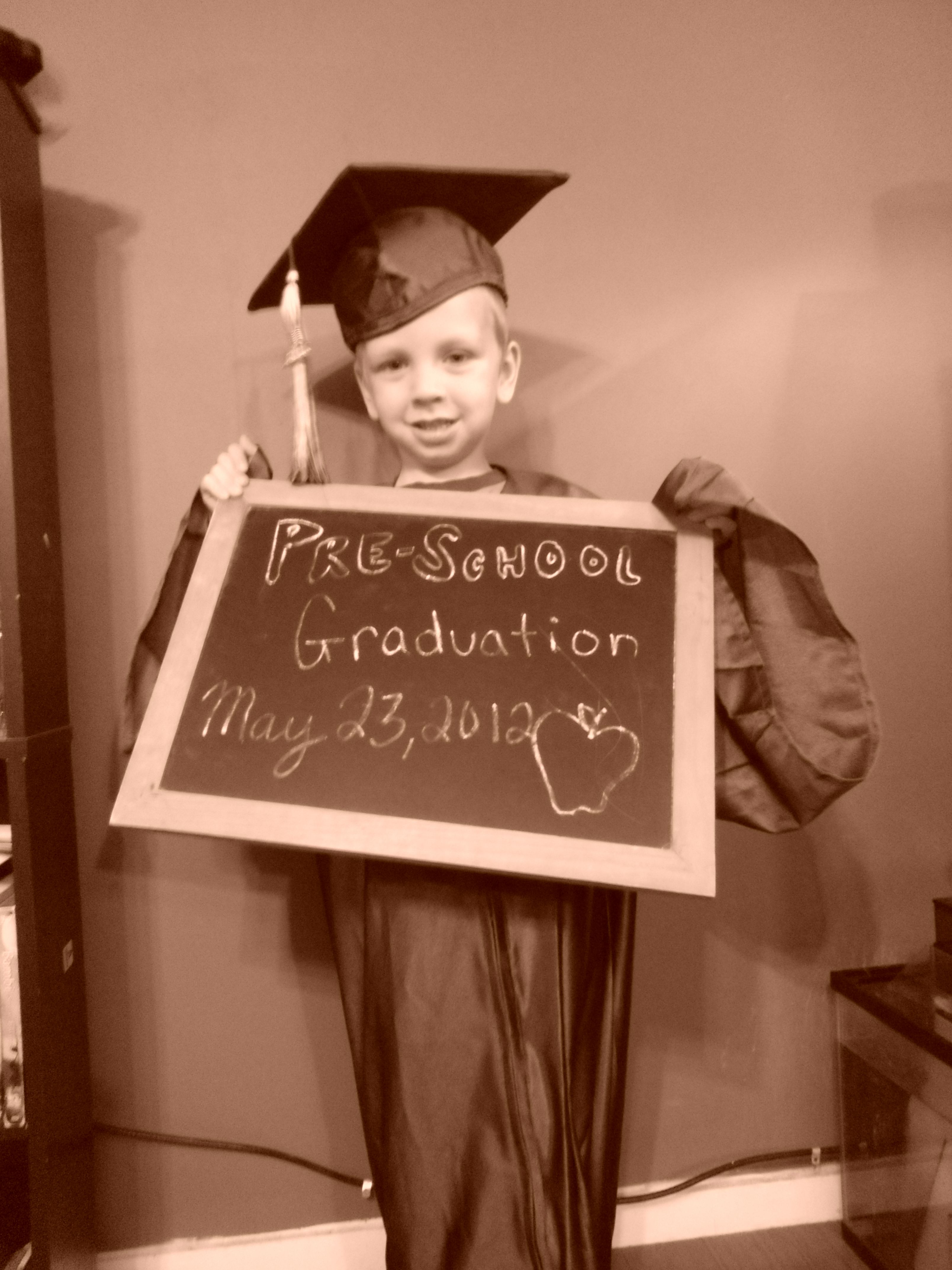 take his preschool graduation picture in my high school graduation ...