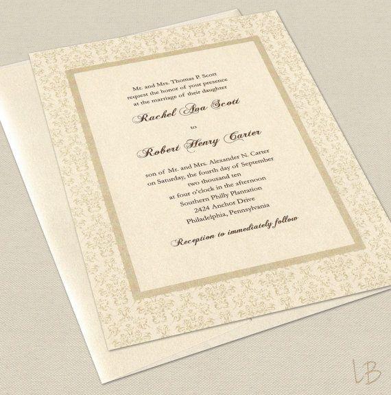formal wedding invitation sample set traditional ivory damask