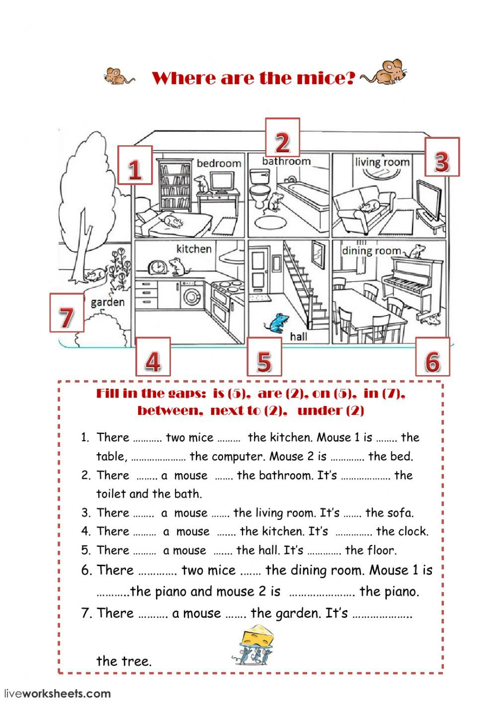 Prepositions of place interactive and downloadable worksheet. You can do  the exercises o…   Preposition activities [ 1413 x 1000 Pixel ]