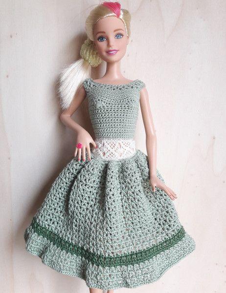 Barbie Kleid Gehäkelt Hellgrün Barbie Clothes Crochet And