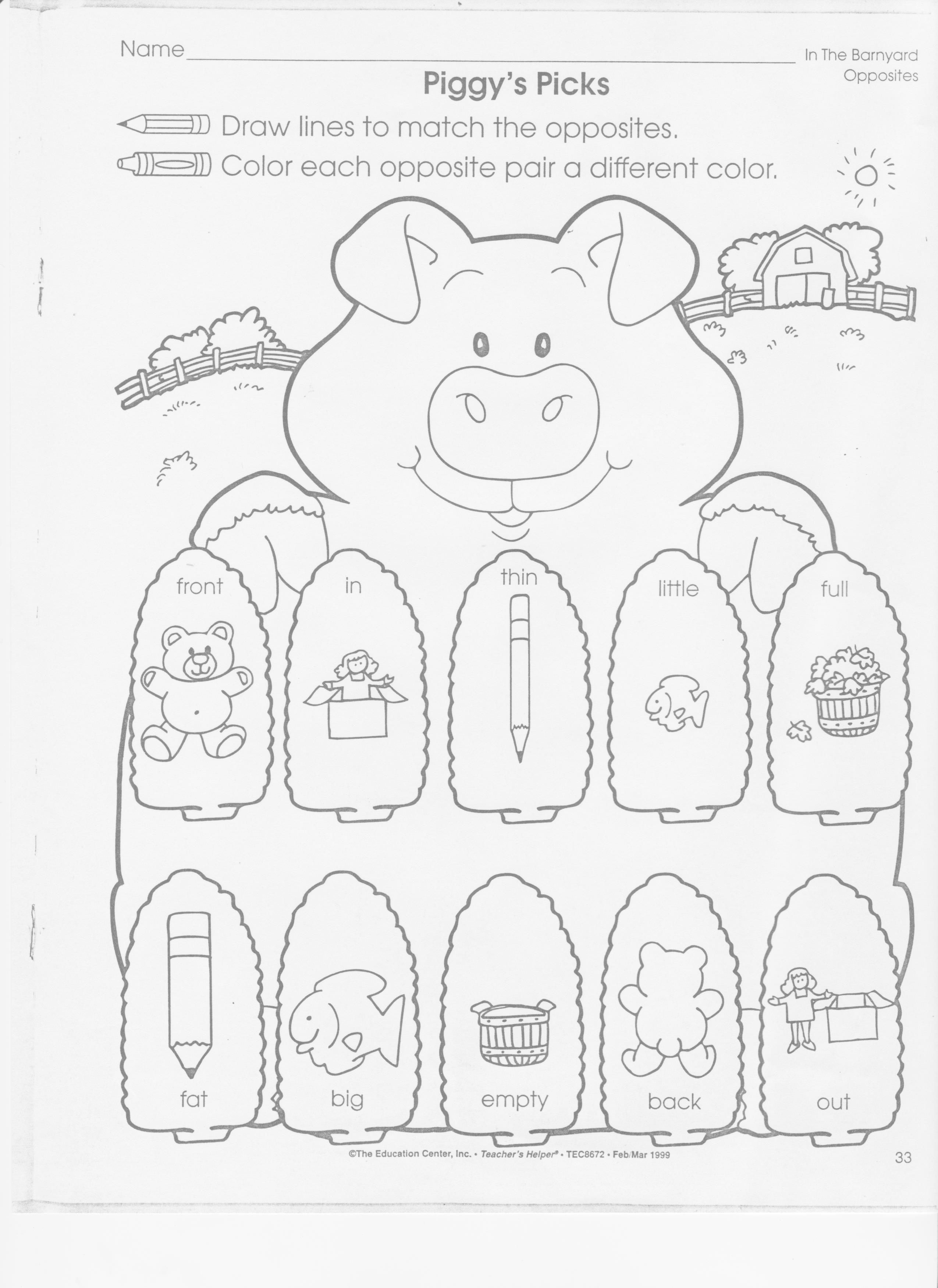 Opposite Worksheet Pig Theme Farm Theme