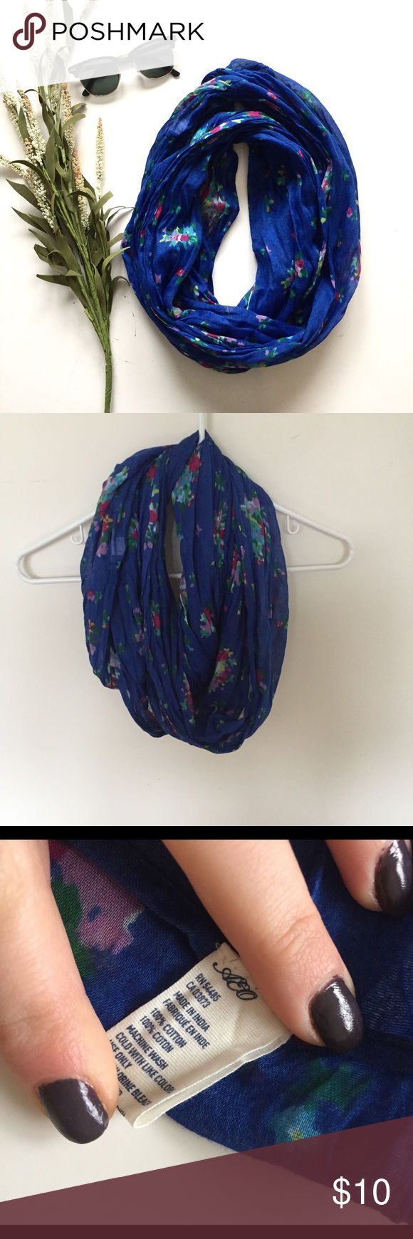 AE Blue floral infinity scarf Lightweight blue with flowers infinity scarf. No flaws. From American Eagle American Eagle Outfitters Accessories Scarves & Wraps