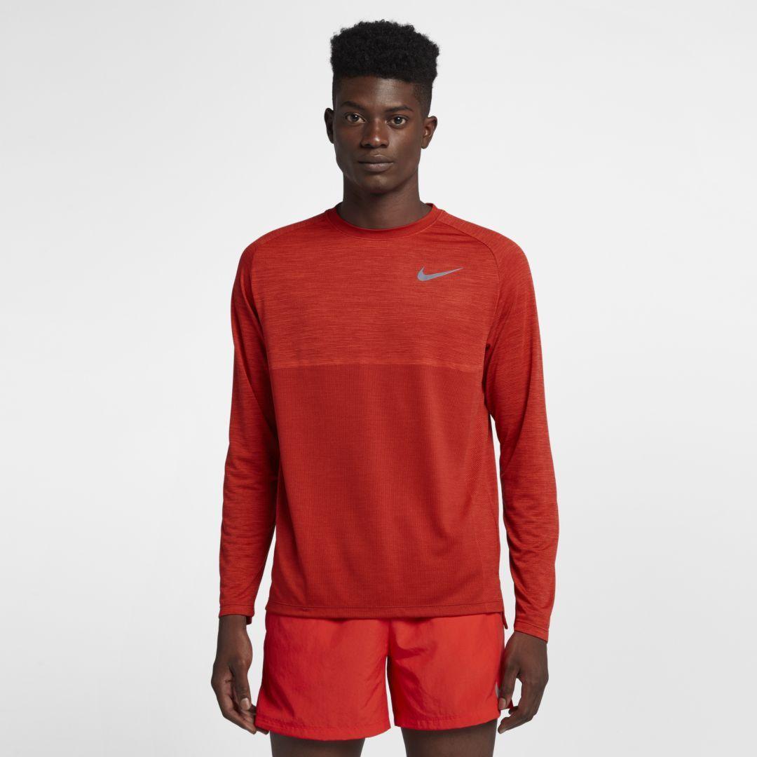 47cdb1e0 Nike Dri-FIT Medalist Men's Long Sleeve Running Top Size 2XL (Habanero Red)