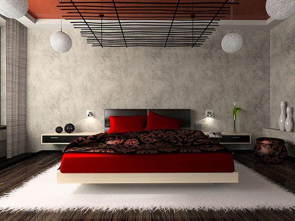 Luxurious Bedroom In Red Modern Bedroom Interior Bedroom Interior Japanese Modern Bedroom Bedroom zen style house design