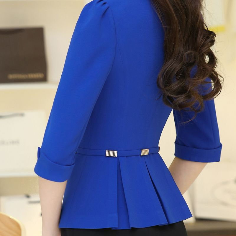 2016 Women's office work Jacket Spring Autumn half sleeve Solid Color  Ruffled Blazers feminino Fashion Slim