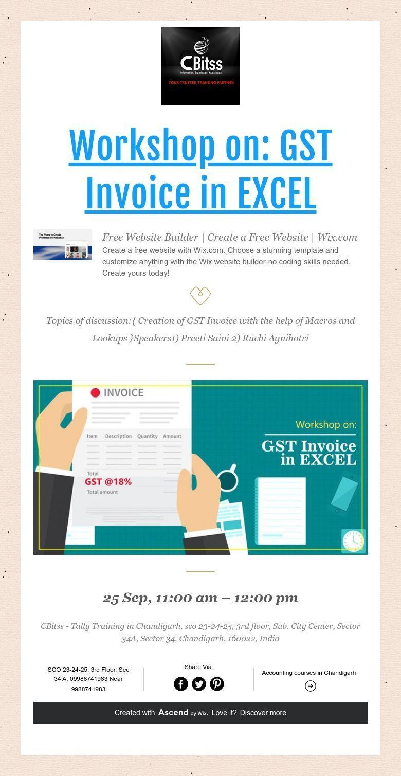 Workshop On Gst Invoice In Excel In 2020 Website Builder Free Wix Website Builder Builder Website