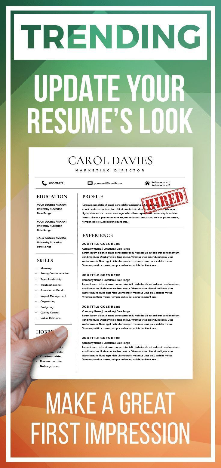 Modern resume template and cover letter 1 2 page cv