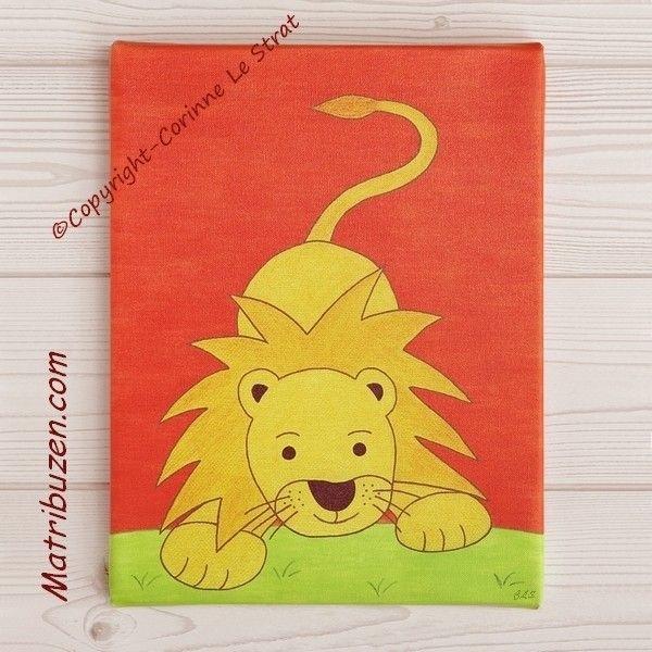 tableau pour chambre d 39 enfant et b b sur le th me de la savane jungle l o le lion belle. Black Bedroom Furniture Sets. Home Design Ideas