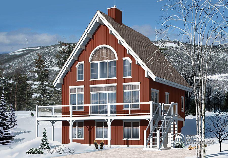 Plan de Maison unifamiliale W3938-V1, inspiration d\u0027un joli chalet
