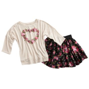 Knitworks Floral Heart Sweater & Scooter Set - Girls Plus