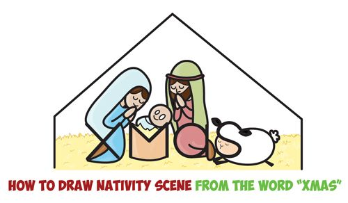 How To Draw Cartoon Nativity Scene With Mary Jesus And Joseph In A