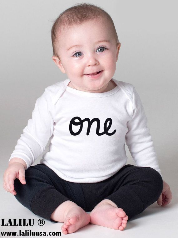 Baby Boy 1st Birthday Outfit Long Sleeve First One T Shirt Cute Onesies For Boys Personalized Onesie