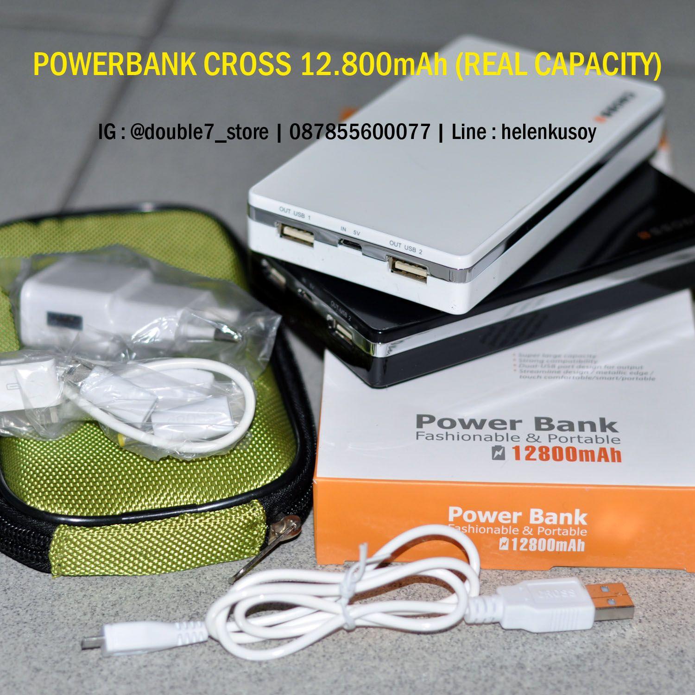 Powerbank Cross 12800mah Real Capacity Usb Output 2 Bonus Kabel Power Bank Pouch
