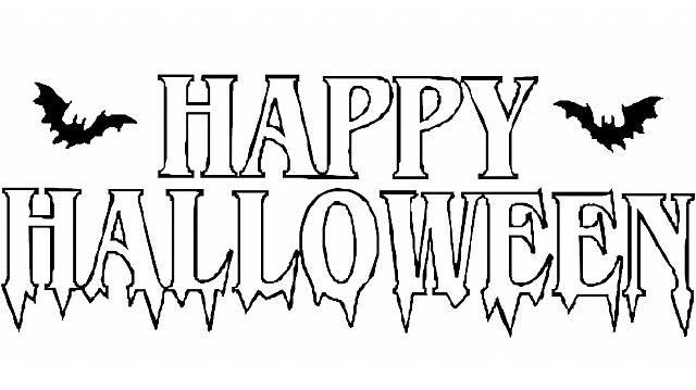 Scritta happy halloween con pipistrelli disegni da Disegni halloween da colorare gratis