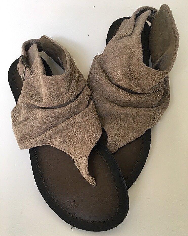 4c1f361d0a8 Slouch Leather Suede Sandal Sz 8M Mia Harlot SZ 8 Tan Brown Khaki Buckle   MIA  Slouch  Casual