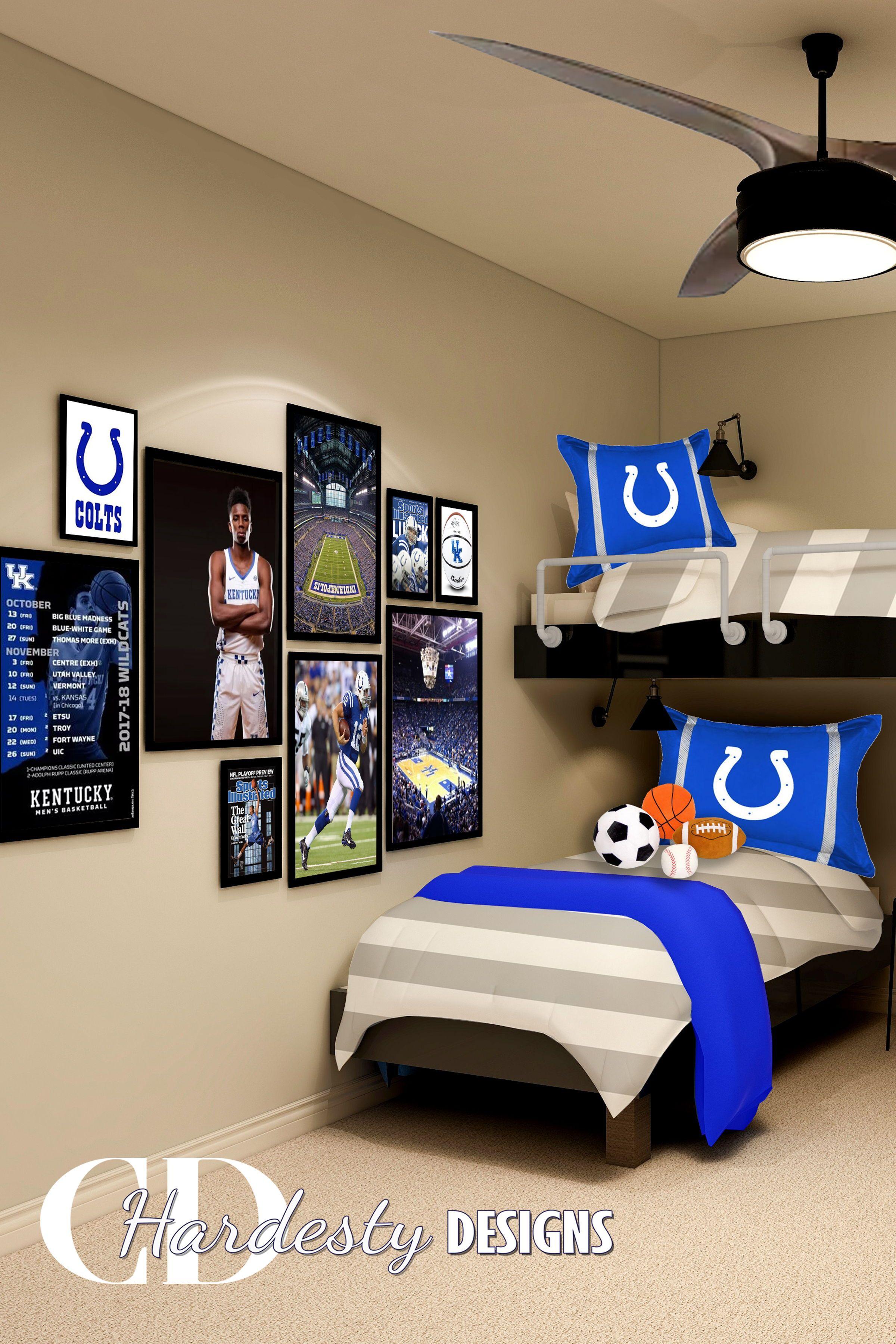Sports Themed Bunk Room In 2020 Bedroom Design Inspiration Boys Room Blue Bedroom Design