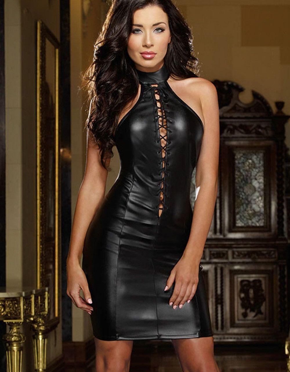 74f3cac1376 Sexy Leather Dress Price Fashion Black Women Club Dress High Quality Vinyl  Mini Sexy Halter Dresses 6301