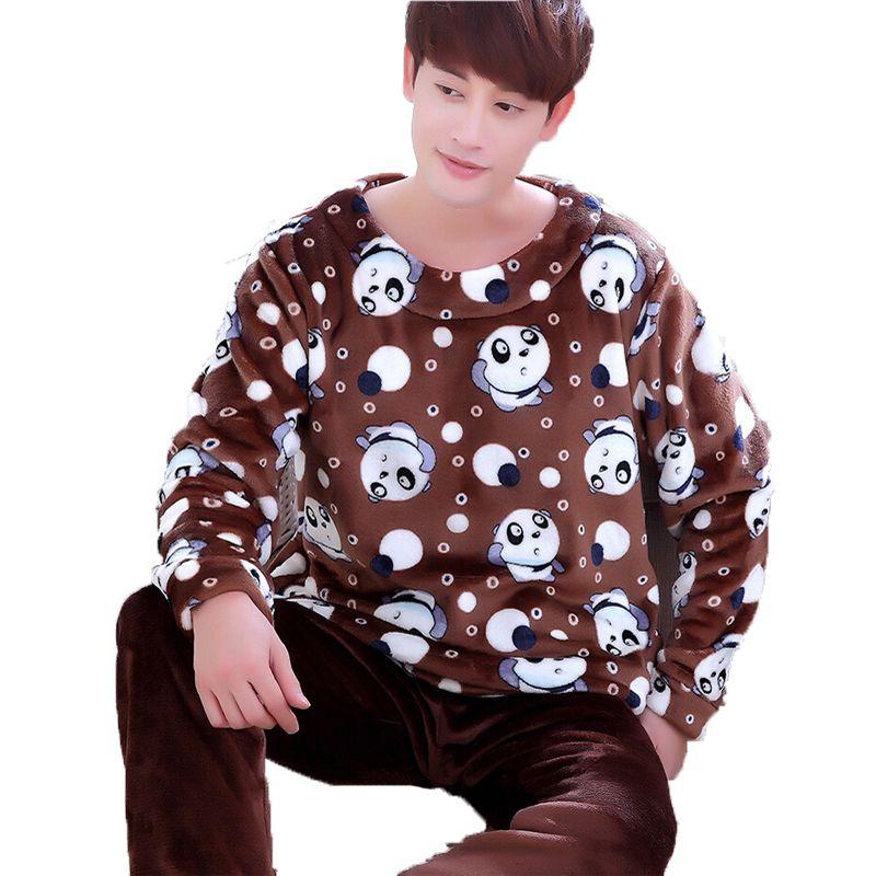 c4a45102fe00 Men Flannel Pajamas Set Casual Home Clothing Winter Long Sleeve Round Neck  Cartoon Men s Sleepwear Pyjamas