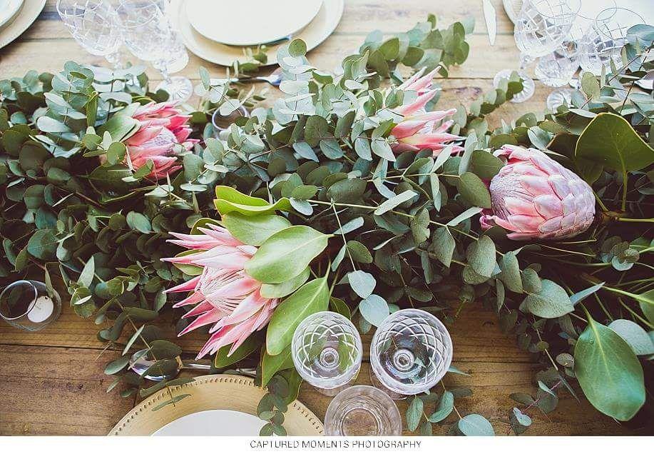 Wedding Louis Elmien Flowers Greenery Garland With King Proteas Photo Captur Eucalyptus Wedding Decor Wedding Table Flowers Table Flower Arrangements
