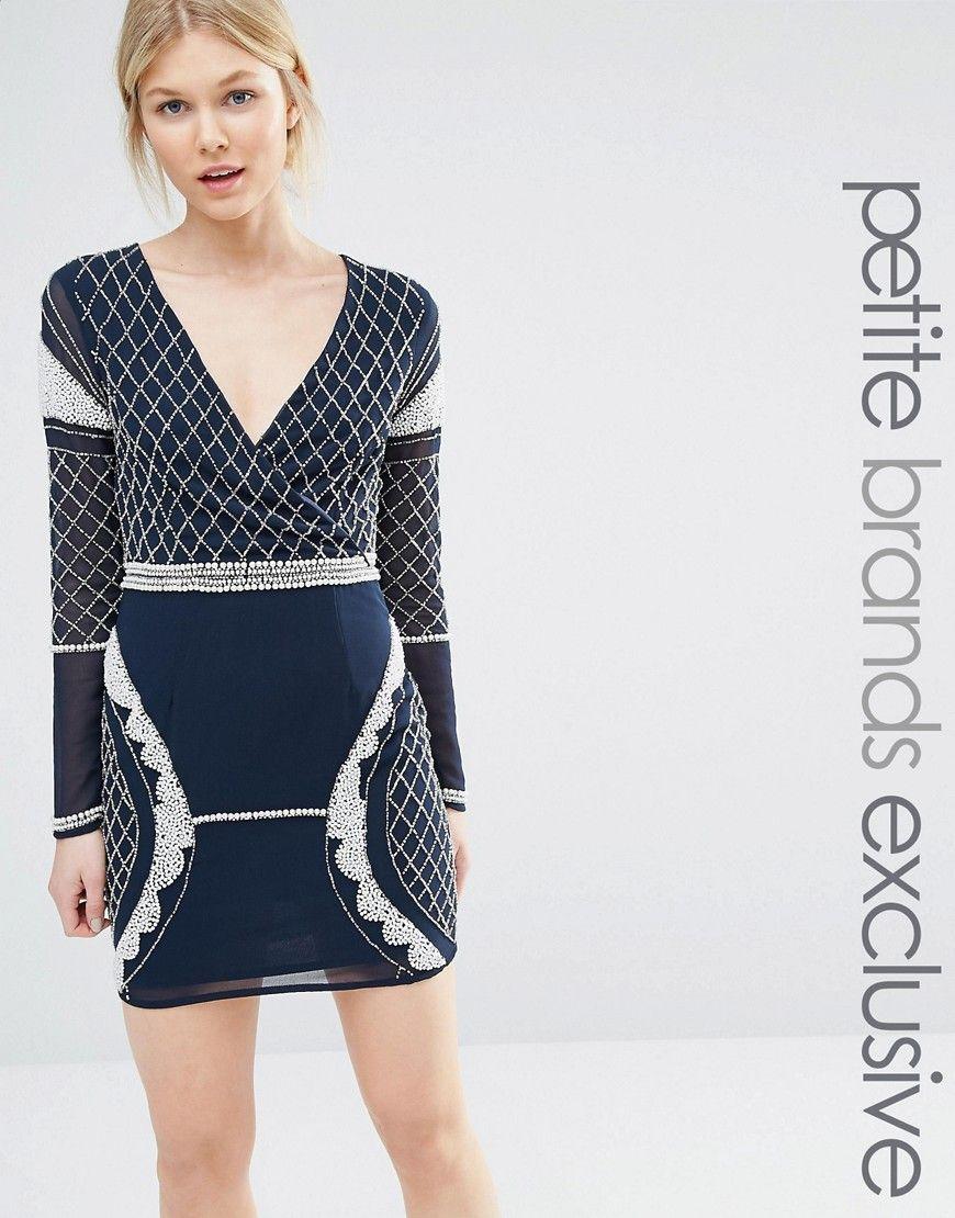 Maya Petite   Maya Petite Long Sleeve Plunge Mini Dress With ...