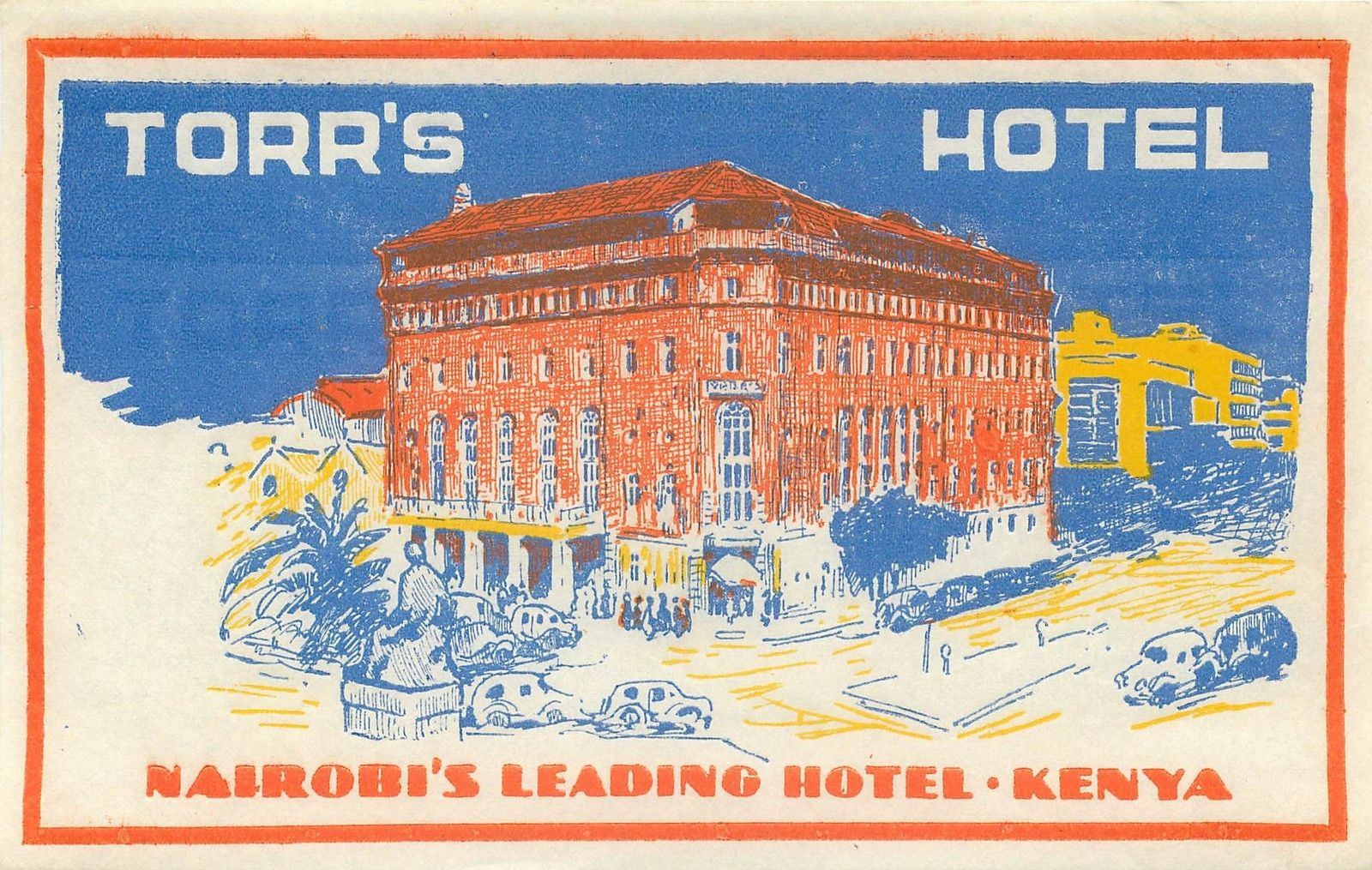 1970s Hotel Intercontinental Nairobi Kenya Lion Luggage Label