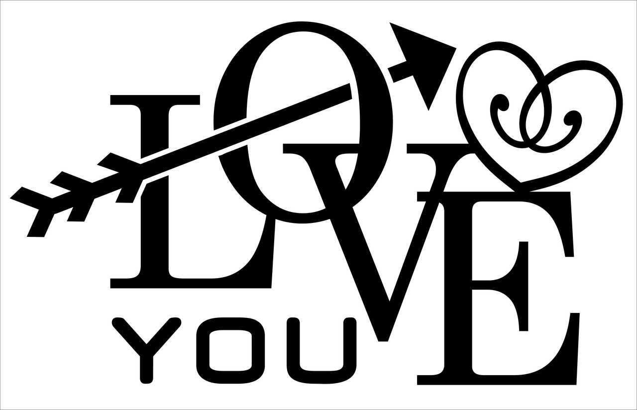 Love You Vinyl Wall Decal Saying with Modern Arrow and