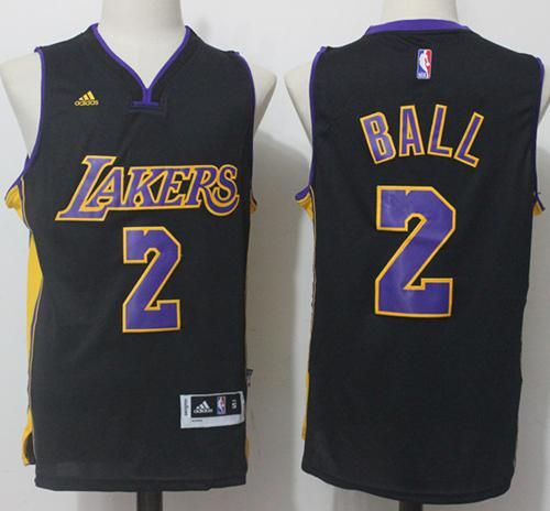 7e2898072 Lakers  2 Lonzo Ball Black(Purple NO.) Stitched NBA Jersey