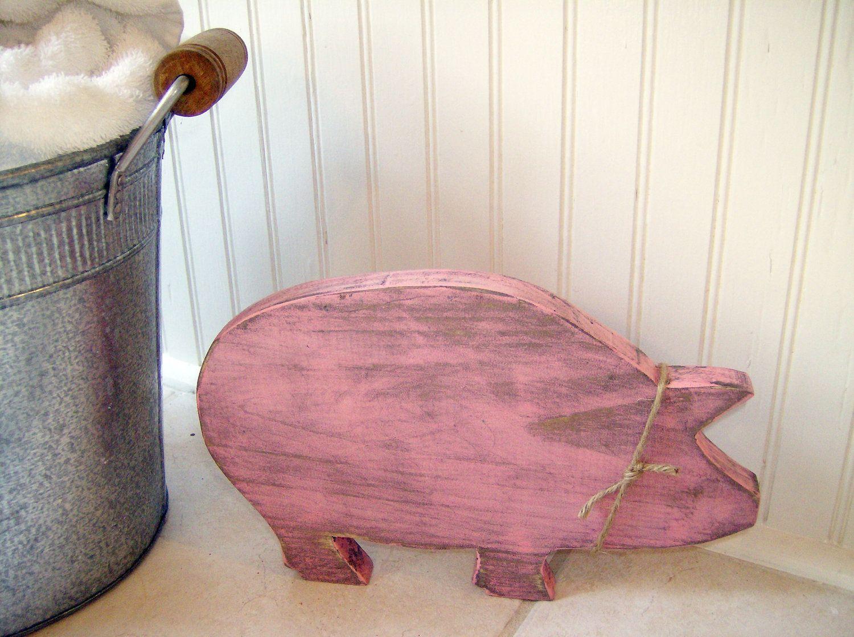 Pink Wooden Pig Distressed Shabby Cottage Chic Rustic Farmhouse Animal Bathroom Decor 17 Animal Bathroom Decor Shabby Chic Bathroom Primitive Bathroom Decor