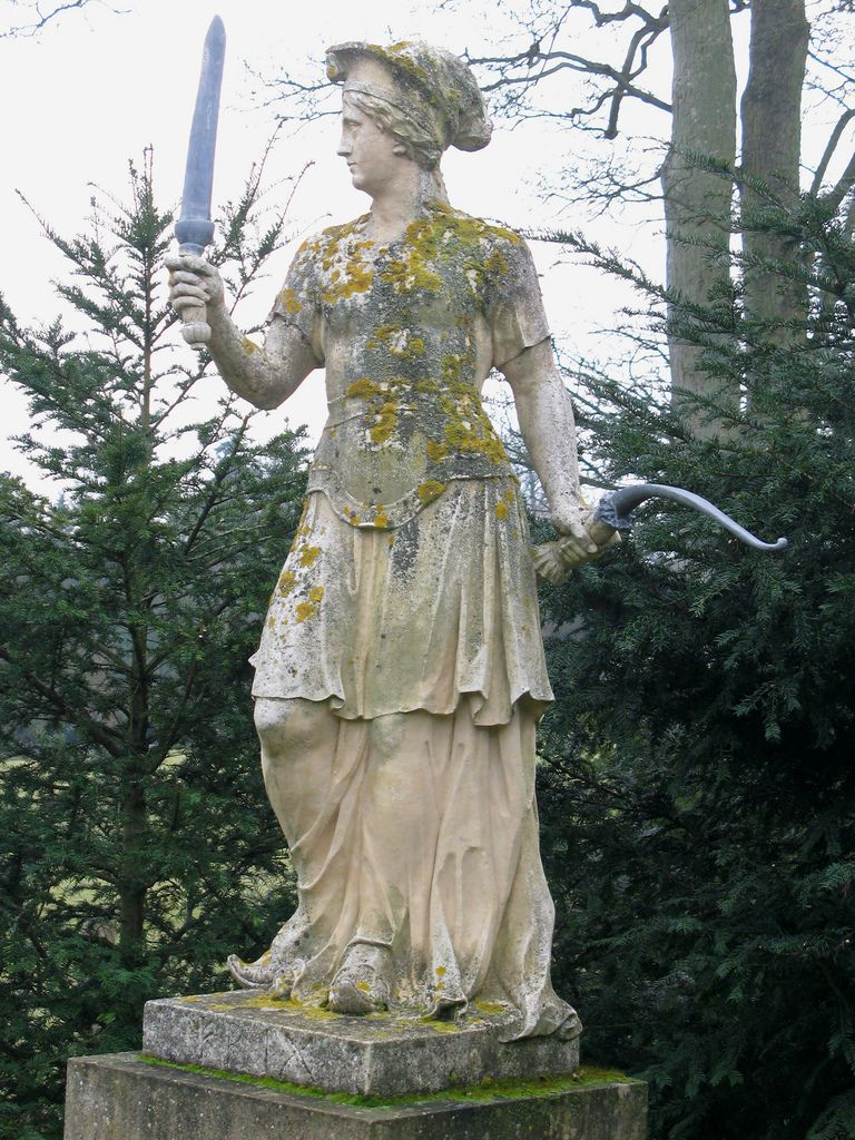 Statue Of Frigg At Stowe Gardens In Buckinghamshire, England. Stowe Is One  Of Englandu0027s